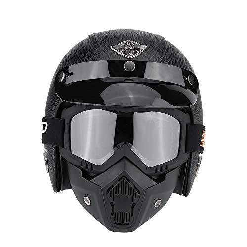Casco da Moto con Occhiali, Faccia Antivento e Sandproof Modulare Full Face Racing Casco Moto UV Occhiali da Sole Protettivi Ciclismo Maschera da Equitazione (Litchi Nero M)
