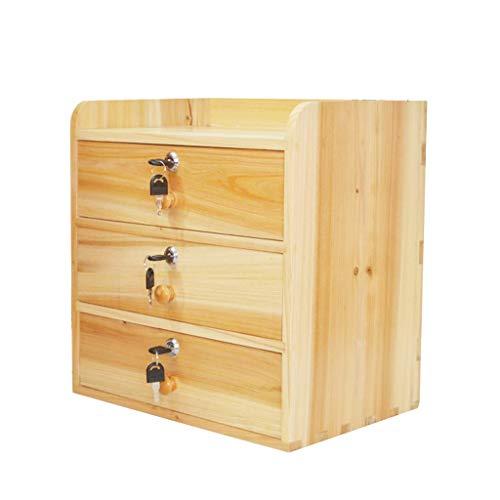 Locker Desktop mit Sperre Schublade Datei Aufbewahrungsbox Massivholz Haushaltsabfall Schrank Multilayer HUYP -