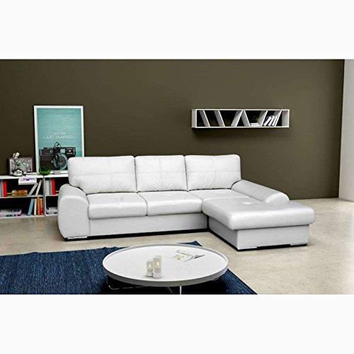 JUSTyou TOFFI BIS Canapé d'angle en cuir écologique Blanc (L x P): 270 x 180 cm Angle droit
