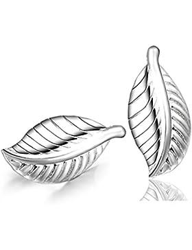 Wiftly Ohrringe Hänger Damen Mädchen 925 Sterling Silber Blatt Mode Ohrstecker