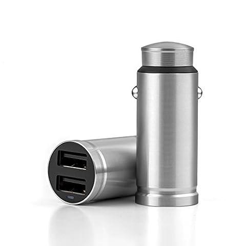 Suntapower en acier inoxydable 2ports USB chargeur de voiture, iSmart chargement, protection de sécurité intégrée pour iPhone 7/6S Plus/5S, iPad Air/mini, Galaxy S7/S6Edge et