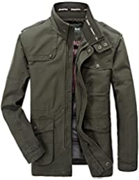 Keral Men's Casual Solid Jacket Zip Button Pocket Coat