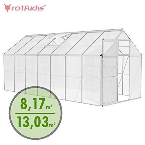 Rotfuchs Aluminium Gewächshaus 13,03 m³ - 4,30 x 1,90 m Treibhaus Frühbeet Gartenhaus Tomatenhaus...
