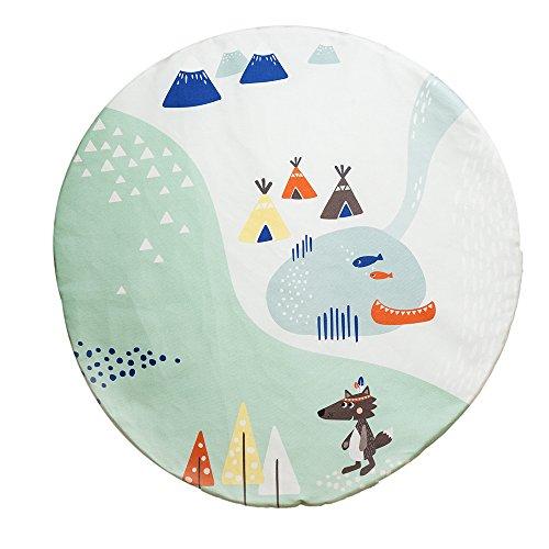 JulicaDesign Krabbeldecke | Spieldecke für Babys | wendbar + gepolstert | 100 cm rund
