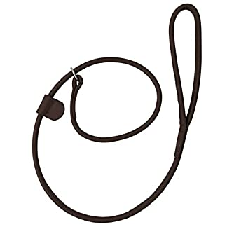 Harrington Marley HAND-CRAFTED BROWN SOFT LEATHER DOG SLIP OVER LOOP HOOP LEASH LEAD TRAINING LONG ROLLED STRONG 7