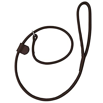Harrington Marley HAND-CRAFTED BROWN SOFT LEATHER DOG SLIP OVER LOOP HOOP LEASH LEAD TRAINING LONG ROLLED STRONG 1