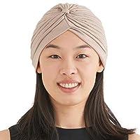 Casualbox Twist Pleated Head Wrap Turban Bonnet Fortune Teller Hat Retro Vintage Beige