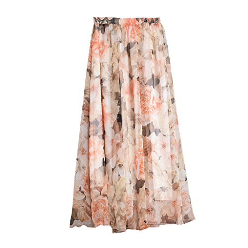 OMSLIFE 2018 Damen Sommerrock Boho Retro Maxi Langer Rock Elastische Taille Double Layer Chiffonrock Unifarben Faltenrock Strandrock Long Skirt (C, 80CM) (Double-layer-chiffon-rock)