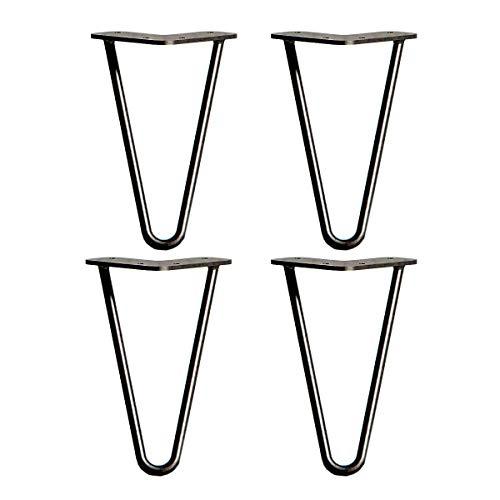Outmoment Haarnadel Tischbeine, 4x Mitte des Jahrhunderts Modern Stil DIY 2 Stangen Möbelbein mit Bodenschoner & Schrauben für Couchtisch Esstisch Schreibtisch, Schwarz 8\'\' / 20cm