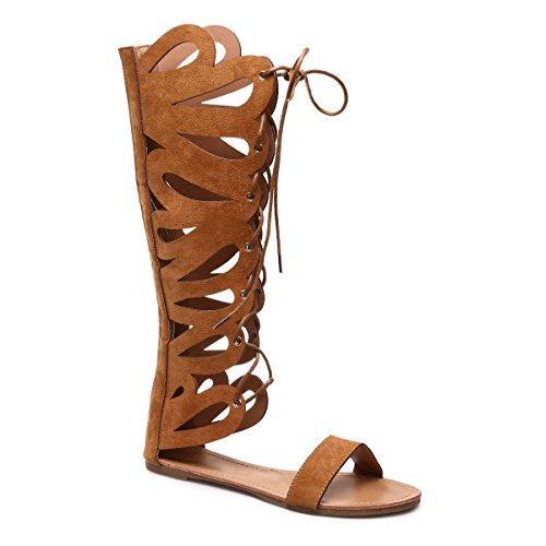 La Modeuse - Sandales montantes style spartiate ensuédine Camel