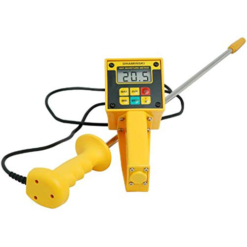 BigTools Multifonctionnel Numérique Hay & Ensilage Moisture Meter Tester with Probe and LCD Display, Plage 10-80% -
