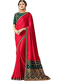 KAMELA SAREE women's silk material Pink colour embroidery Party wear saree With designer Blouse