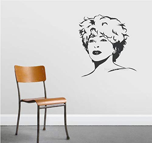 Wuyyii Berühmte Sänger Vinyl Wandaufkleber Abnehmbare Dekoration Tina Turner Decals Rock Königin Wandtattoo 3D Poster Kunst Tapete 57X61 Cm