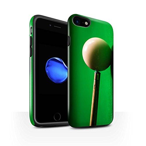 STUFF4 Glanz Harten Stoßfest Hülle / Case für Apple iPhone 8 / Blaue Kugel/Rack/Rosa Muster / Snooker Kollektion Weiße Kugel/Kreide