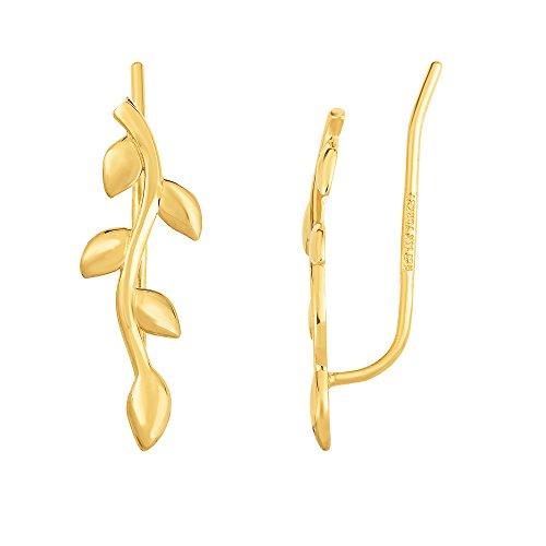 14K Gelb Gold Olive Ast Climber Ohrringe