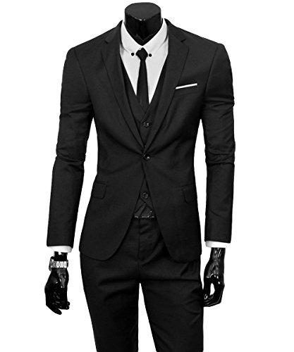 Herren Anzug Regular Fit Business Anzüge 3-Teilig Anzugjacke Anzughose Weste Schwarz