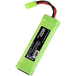 Eleoption 9.6V 1600mAh 8 Cell Stick Flat Ni-MH Batterie pour pistolet Airsoft avec prise Mini Tamiya