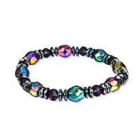 ArgoBar Men Women Beads Bracelet Braided Rope Gemstones Yoga Bracelet Bangle Colorful Bead Crystal Beach Bangle for Womens(Black)