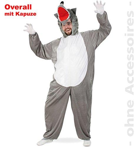 Wolf Tierkostüm Plüsch Overall mit Kapuze Gr XXL