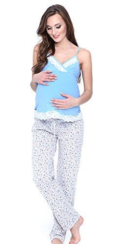 Mija - 3 in 1 Stillpyjama / Stillschlafanzug / Umstandspyjama / Pyjama 4024 Blau