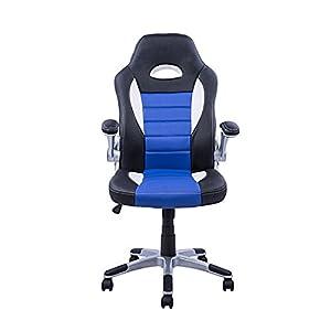 41z5DLIVoqL. SS300  - Homcom-Silla-oficina-ejecutiva-deportiva-sillon-estudio-direccin-giratoria-racing-varios-colores-y-medidas-medida-color-negro-azul-blanco