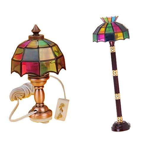 KESOTO Lámpara de Pie Luz Led En Miniatura con Lámpara de Mesa Artesanal, Accesorios para Casas de Muñecas 1/12