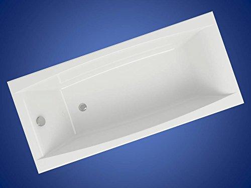 VIRGO Badewanne Acrylwanne Wanne 180 x 80 cm in weiss, mit Ablaufgarnitur in chrom, mit Fußgestell NEU