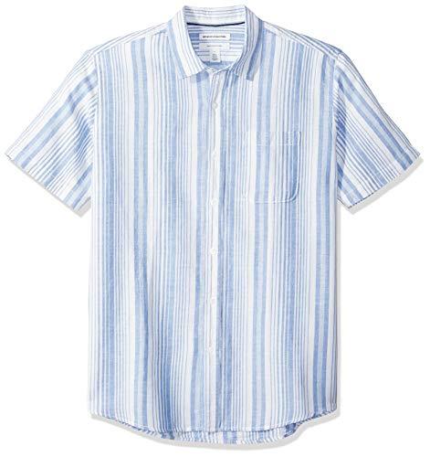 Amazon Essentials Regular-Fit Short-Sleeve Print Linen button-down-shirts, Blue Stripe, US (EU XL-XXL)