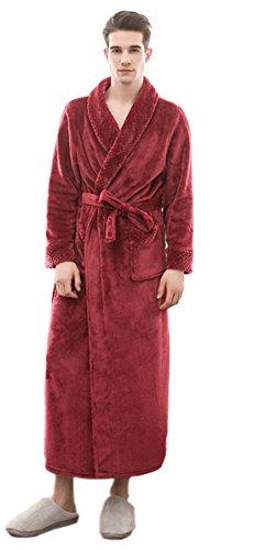 SUIMO - Kimono de Invierno Albornoz Unisex Grueso de Forro Suave Bata de Baño para Hombre Mujer - Rojo...