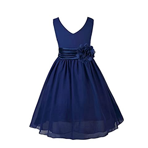 FEESHOW Kids Girls Flower Chiffon Princess Party Dress Formal Gown