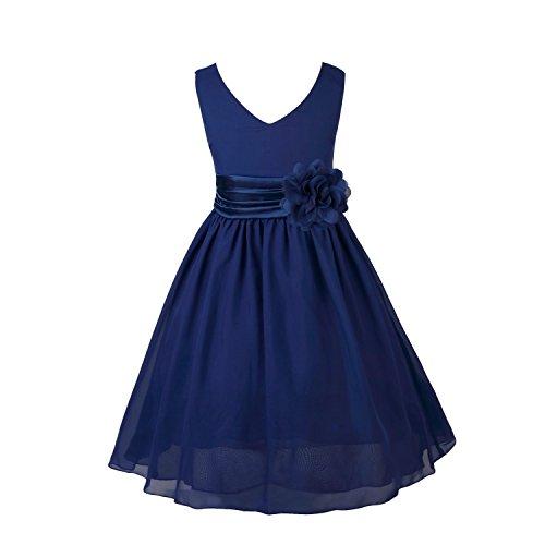 iEFiEL Mädchen Kleid Festlich Hochzeit Partykleid Tüll Festzug Kleidung Brautjungfer 92 104 116 128 140 152 164 Marineblau 128 (Kleider Für Kinder)