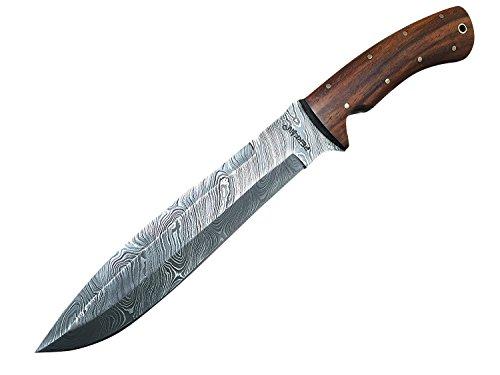 Coltello da caccia, con fodero, in acciaio damascato
