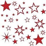30 Stück Sterne Farbe Rot Aufkleber, Mix-Set, Fensterdekoration zu Weihnachten Fensterbild / Fensteraufkleber, Wandtattoo Deko Sticker, Autoaufkleber, Weihnachtsdekoration, Schaufenster In- und Outdoor 70001