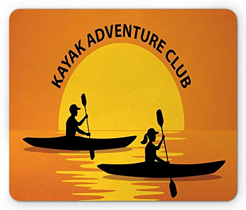 ASKSSD Kayak Mouse Pad, Man Woman Silhouette in Kayaks at Sunset Outdoors Adventure Illustration, Standard Size Rectangle Non-Slip Rubber Mousepad, Black Yellow and Orange