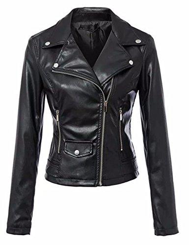 LooBoo Jackets Mujer Cremallera Jackets Chaquetas Cuero Moto Cazadoras Imitacion Piel Biker Abrigos con 2018