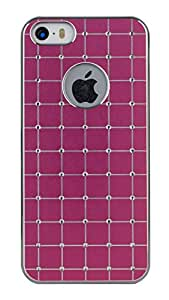 Sun Mobisys Iphone 5 ; Crystal Diamond Studded Back Case For Apple Iphone 5 (Darkpink Square-Silver Electro) - Pink