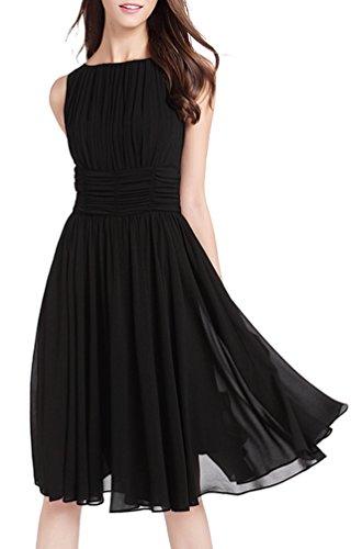 MILEEO Damen Chiffon Kleid Knielang mit Plissee-Falten Ärmellos Cocktailkleid...