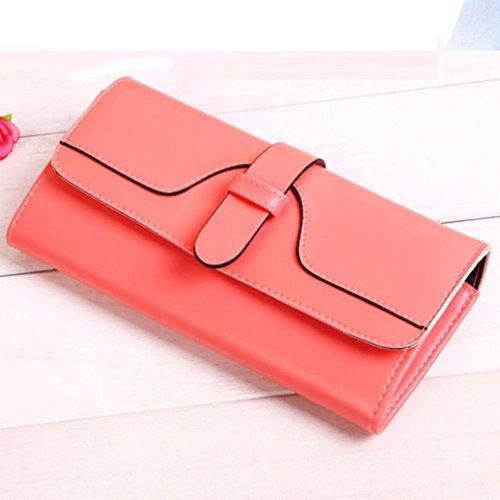 Portafoglio Donna, Tpulling Grande borsa di supporto della carta del raccoglitore della frizione della frizione di cuoio di grande capacità per le donne (Hot pink) Pink