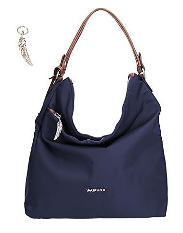 Shoppertasche von Waipuna aus hochwertigem Nylon, Shopper mit Schlüsselanhänger, Handtasche mit schönen, braunen PU-Leder Details,