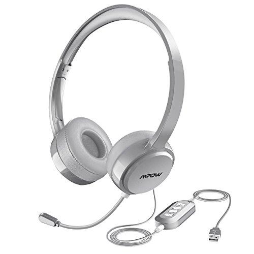 Mpow USB Headset / 3.5mm Computer Chat Headset mit Mikrofon Geräuschunterdrückung, PC Headset Wired Kopfhörer Business Headset für Skype, Telefon, Call Center usw. Silber. (Telefon Pc Telefon Headset)
