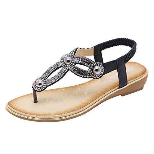 Frauen Sommer Flache Sandalen Schuhe, böhmische Strass T-Strap Thong Schuhe Low-Heeled Flip Flop Schuhe Slingback Rutschfeste Clip Toe Sandalen 5-zoll-slingback Pump