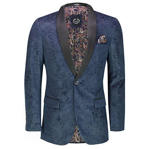 Xposed Chamarra de Esmoquin de Terciopelo Suave con Estampado de Cachemira para Hombre Blazer-Azul Marino-Azul...