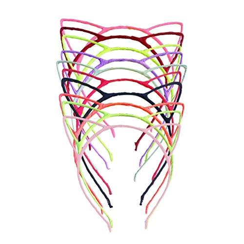 (Mode 10pcs Nettes Katzen-Ohr-Mädchen-Metallstirnband-einfache Art und Weise DIY Kopfschmuck)