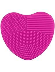 BZLine® Brosse Nettoyante Pinceau en Silicone | Outil de Nettoyage en Forme d'un Cœur pour les Pinceaux de Maquillage | Couleur Pure, 8.2*7.4*2.8CM (Rose)