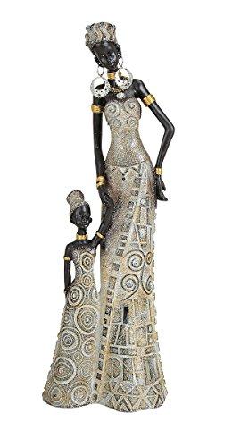 Afrikanische Frauen Figuren (Afrikanerin mit Kind 32 cm groß Mutter Tochter afrikanische Frauen Figur Afrika)