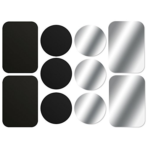 AJOXEL [10 Stück Metallplatte Metallplättchen Selbstklebend Set (6 Runden+4 Rechteckig) mit 3M Klebefolie für Magnet KFZ Handyhalterung Sehr Dünn Ersatzplatten für Handy und Tablet– Schwarz + Silber