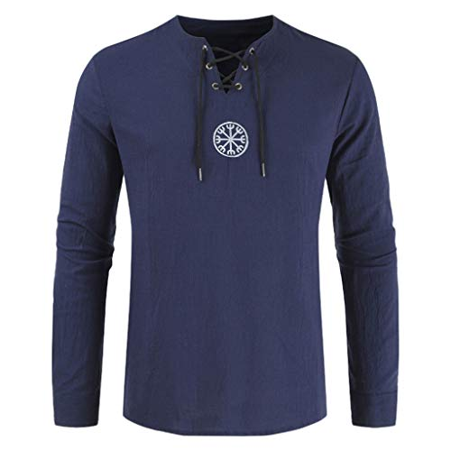 Men's FashionT Shirt Cotton Linen Solid Long Sleeve Drawsting Shirts Beach Yoga Tops Blouses - Hollywood Womens Long Sleeve