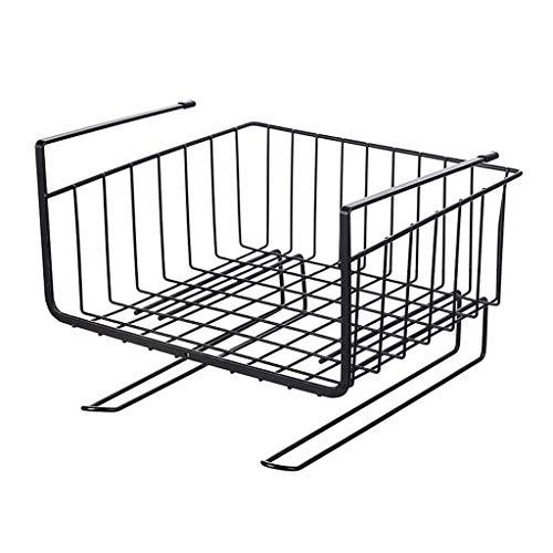 SYJY-SHOP Küche hängenden Korb ablage for küchenregal Schrank Dressing büro Metall ablagekorb stapelbare regalkörbe unter Regal ablagekorb (Farbe : Black) -