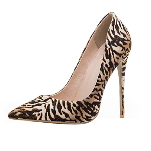 ENMAYER Womens High Heels Spitz Zehe Schuhe Slip-on Court Party Kleid Pumps Zebra-Muster