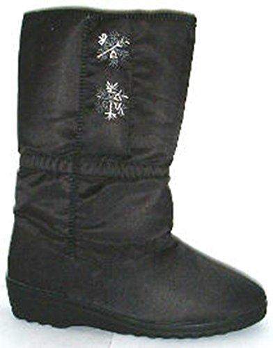 Blizzard Stiefel Damen Kalb Länge Fell gefüttert Stiefel Pull auf Schwarz Schwarz